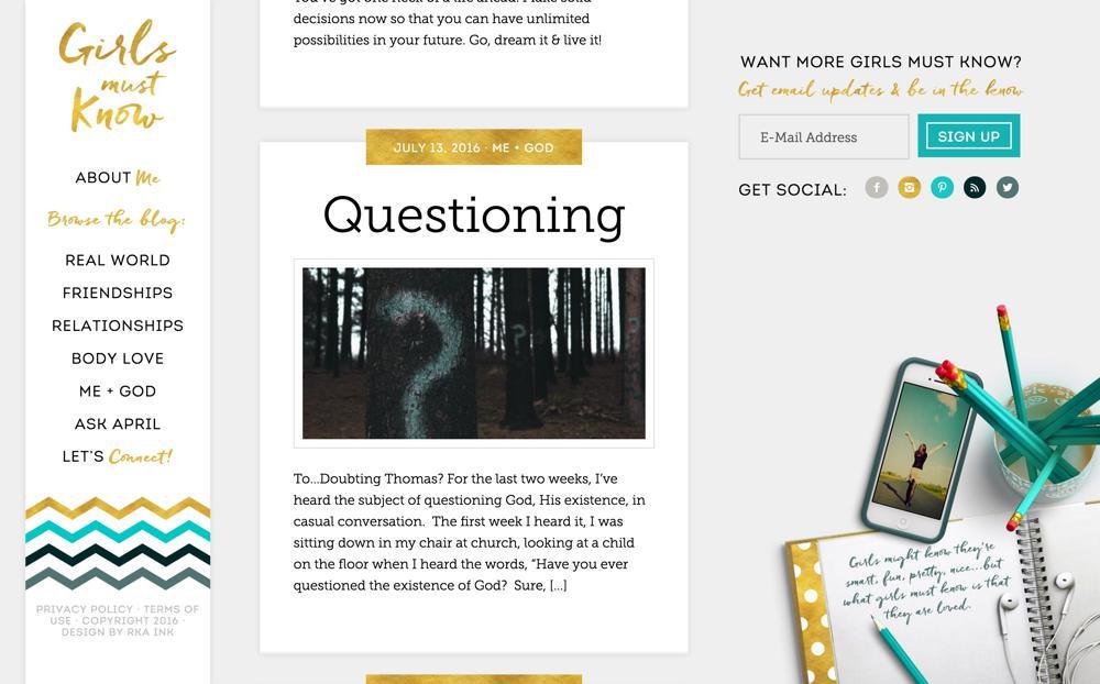 Girls Must Know Custom WordPress Web Design RKA ink