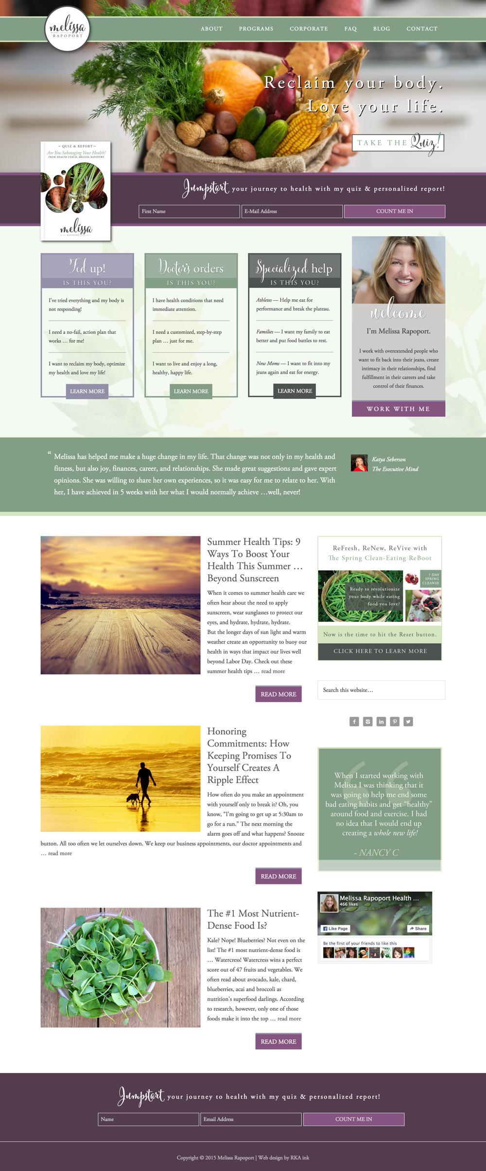 Melissa Rapoport Custom WordPress Web Design RKA ink