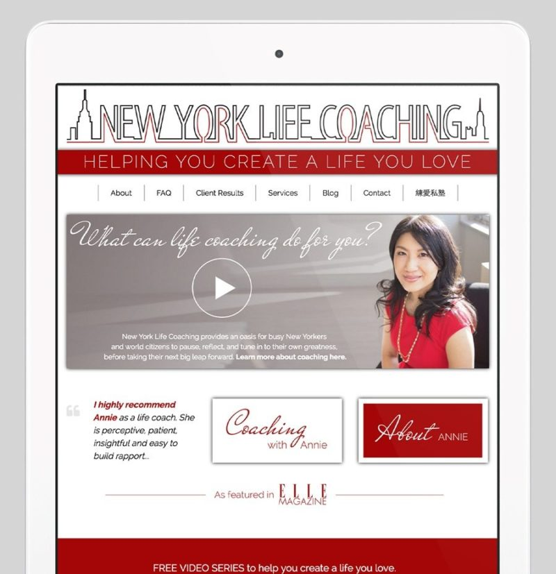 New York Life Coaching Custom WordPress Web Design by RKA ink