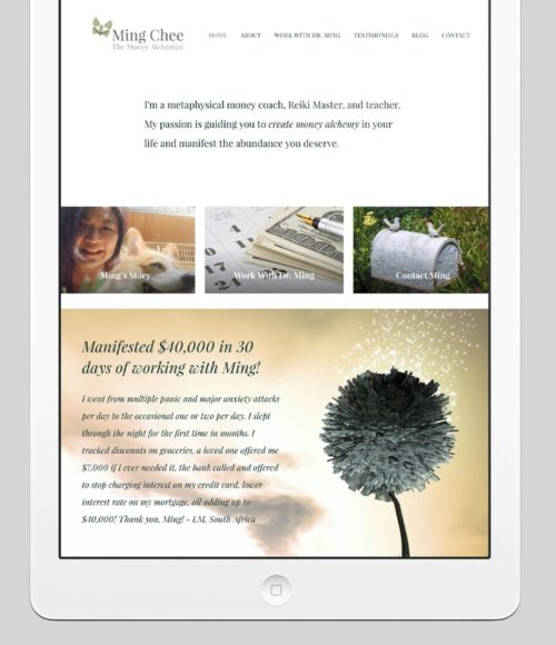 The Money Alchemist Custom WordPress Web Design by RKA ink