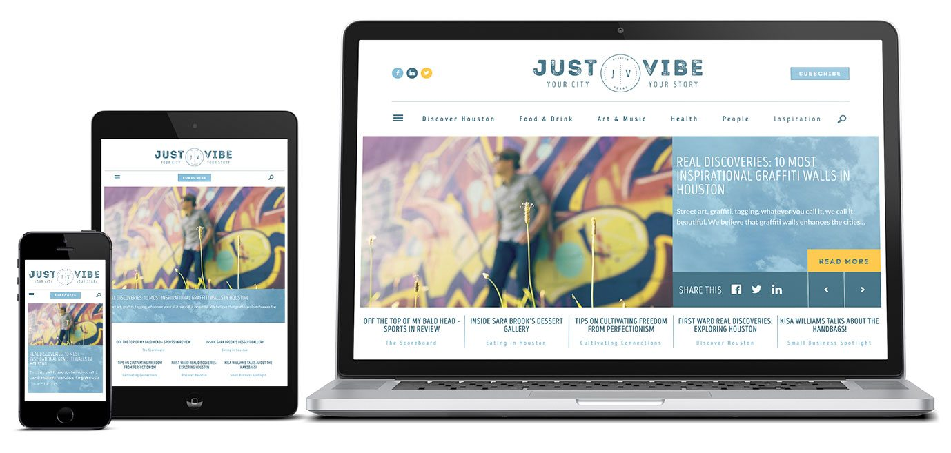 Just Vibe Houston, WordPress Web Design by RKA ink